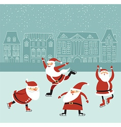 Santas on the ice rink vector