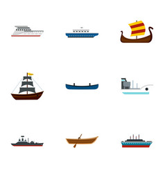 Sea transport icons set flat style vector