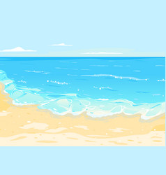 Sea with waves and sandy beach vector