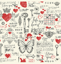 seamless pattern on theme of declarations of love vector image