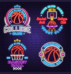 set basketball club neon design or emblem vector image