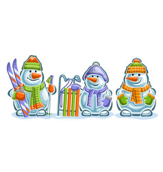 set cute snowmans vector image