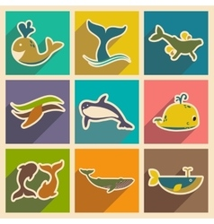 Set flat icons with long shadow whales vector