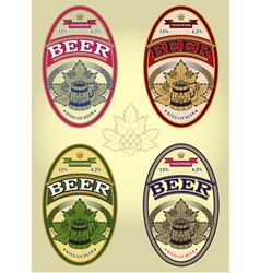 set four oval labels for beer vector image