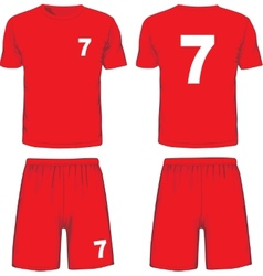 Set of soccer uniform front and back view vector