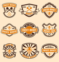 Set of vintage honey labels template bee icons vector
