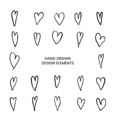 set with hand drawn doodle heart vector image