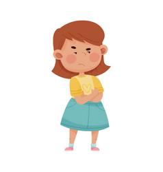 Short haired girl in blue skirt folding her arms vector