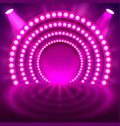 Show light podium purple background vector