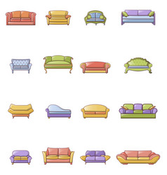 sofa chair room couch icons set cartoon style vector image