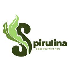 Spirulina super food seaweed logotype for organic vector