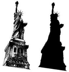 statue liberty and silhouette vector image
