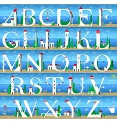 Summer Alphabet Cute Sea Town vector