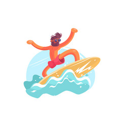 surfer guy on wave vector image