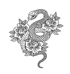 tattoo with rose and snake with sacred geometry vector image