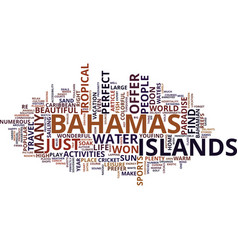The bahamas an exotic tropical paradise text vector