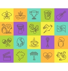 Thin line icons Brazil 4 vector