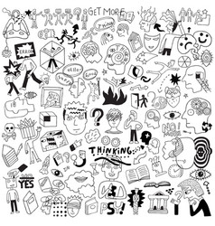 Thinking psychology sick people -big doodle set vector