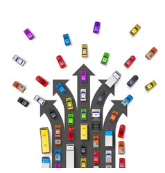 Traffic jam with directional arrows road way vector