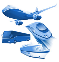 transportation blue icons vector image