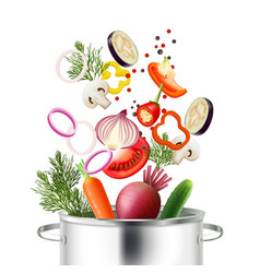 Vegetables and pot concept vector