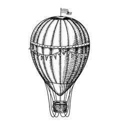 Vintage hot air balloon retro flying vector