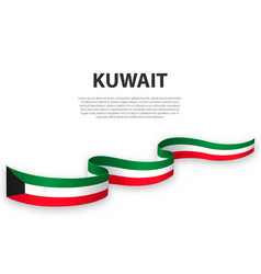 Waving ribbon or banner with flag kuwait vector