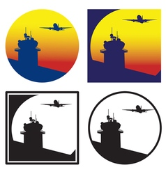 Control tower at sunset vector image vector image