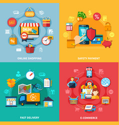 Ecommerce colored composition set vector