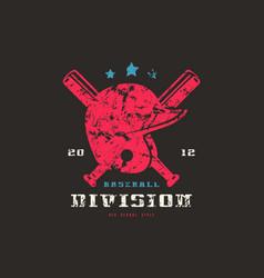 emblem of baseball team graphic design for t-shirt vector image vector image
