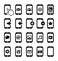 Mobile or cell phone smartphone contact icons vector image vector image