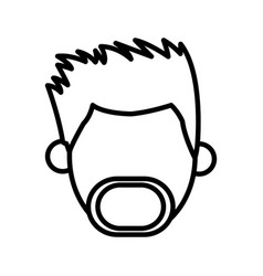 Outlined head male mustache beard faceless image vector
