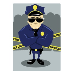 Policeman and crime scene vector