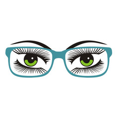womens green eyes with glasses vector image vector image