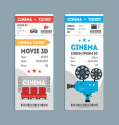 cartoon cinema tickets vertical set vector image