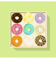 Donut icon set Flat vector image vector image