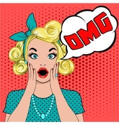 OMG bubble pop art surprised blond woman vector image vector image