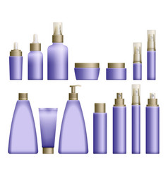 realistic blue cosmetics bottles vector image
