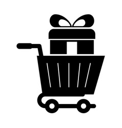 shopping cart with gift vector image vector image