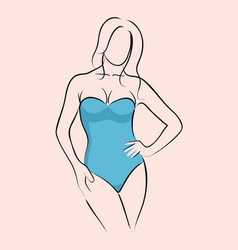 woman in swimsuit vector image