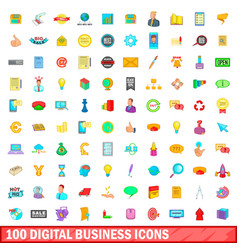100 digital business icons set cartoon style vector image