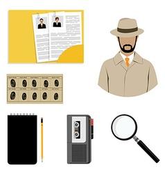 Detective icon set vector image vector image