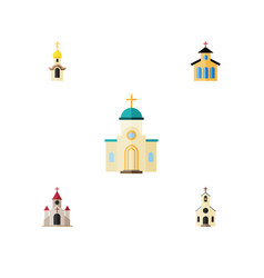 flat icon christian set of building religious vector image vector image