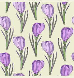 floral seamless pattern with purple realistic vector image vector image