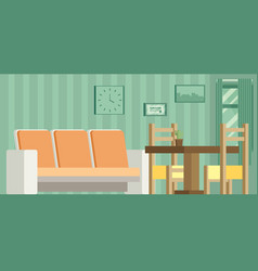 living room and dining room with furniture vector image