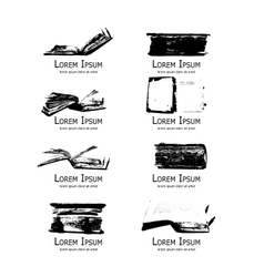 Logo set with medieval old books for your design vector image