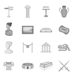 Museum icons set gray monochrome style vector image vector image