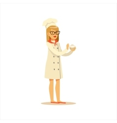 Woman Professional Cooking Chef Working In vector image vector image