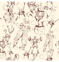 Circus doodle sketch seamless pattern vector image vector image