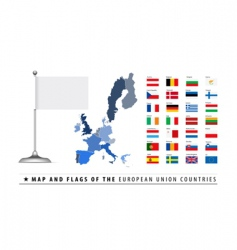 European union map and flag vector image